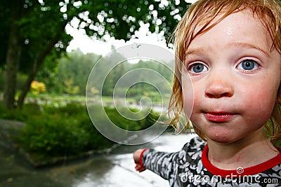 Child rain wet