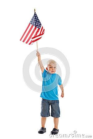 Child raising flag
