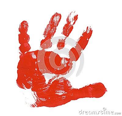 Free Child Red Hand Print Stock Photo - 6056040