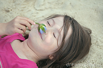 Child relaxing in nature