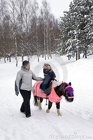 Child ride a pony in winter park