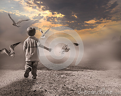 Child running through fog to light of new day.