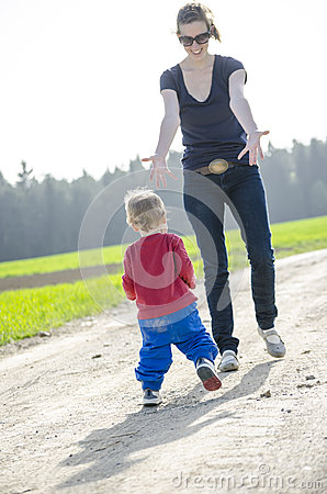 Child running to his mum