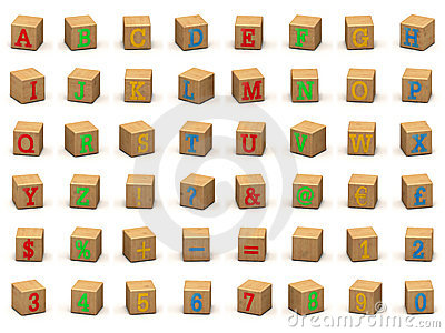 Child s alphabet building blocks, various angles