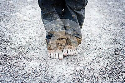Child s dirty feet