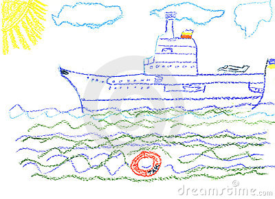 Child s drawing with big battleship