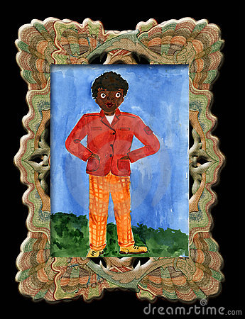 Free Child S Drawing Black Boy . Royalty Free Stock Photos - 14158258