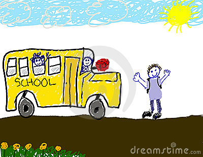Child s drawing of bus ride to school