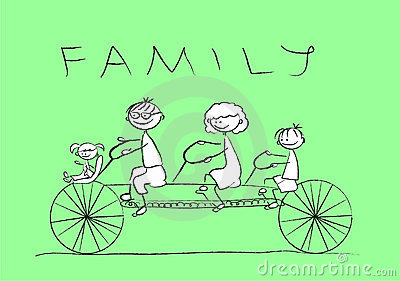 Child s drawing of the family on a bicycle,vector
