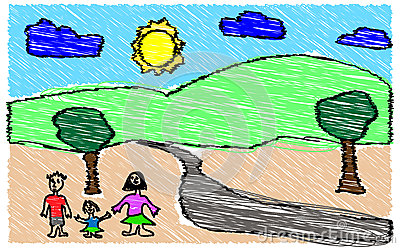 Child Drawing of Family in Nature