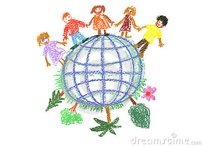 Child s drawing with globe