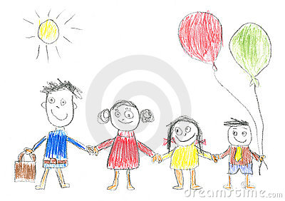 Childs drawing happy family