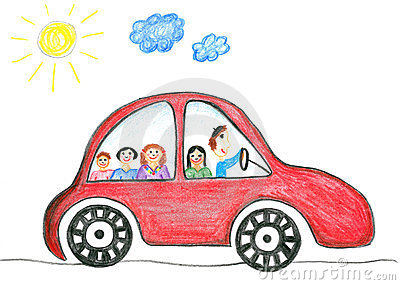 Childs drawing happy family on the car trip