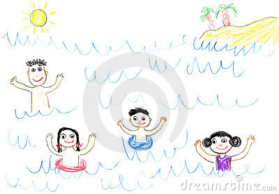 Childs drawing happy family in sea