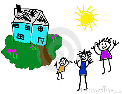 Child s drawing of happy home & family