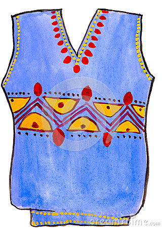 Child s drawing watercolor. sweater with ornament