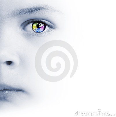 Child s face, colorful eye and map