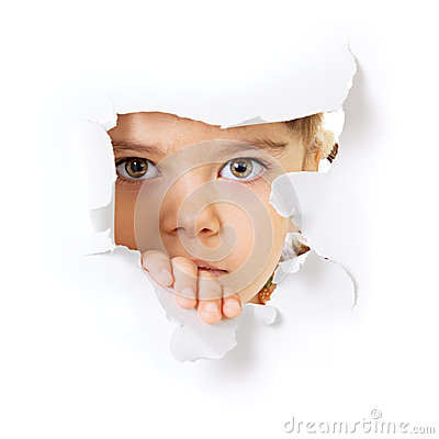 Free Child S Face Looking Through A Hole In Paper Royalty Free Stock Images - 25140249