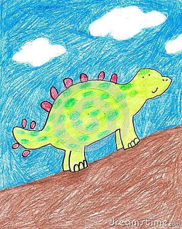 Child s hand-drawn dinosaur