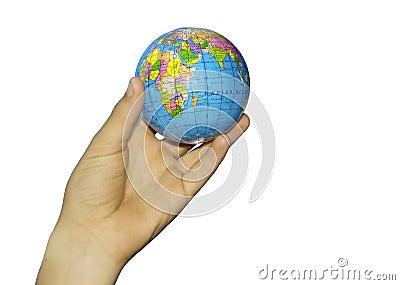 Child s hand and globe