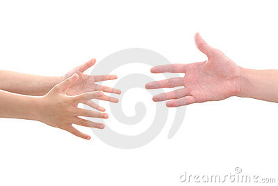 Child s hands reaching for adult s hand