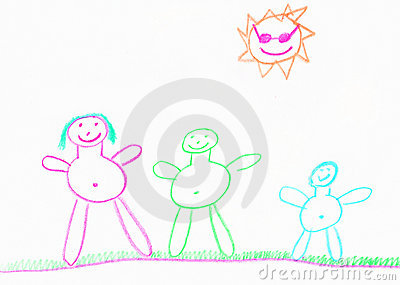 Child s happy family illustration
