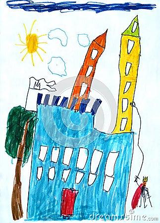 Child s picture of fairy-tale castle.
