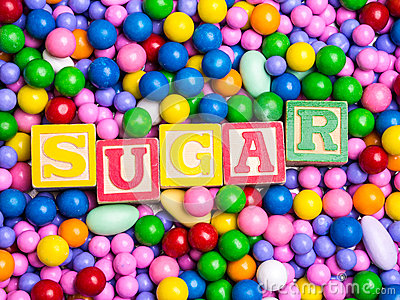 Sugar spelled out in coloful blocks