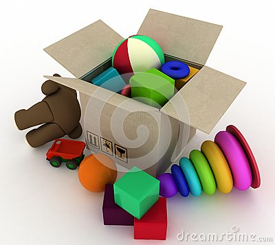 Child s toys are in a box
