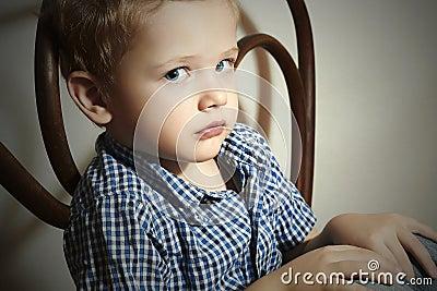 Child. Sad little boy.Fashion Children.Emotion