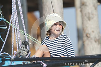 Child Sailor Traveling On Sea Yacht Stock Photography - Image: 26275962