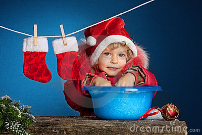 Child in Santa hat