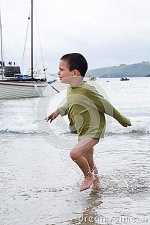 Child at sea port