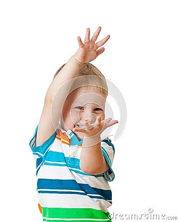 Child showing something isolated on white