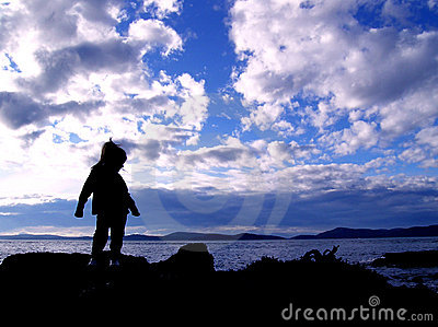 Child Silhouette on Beach