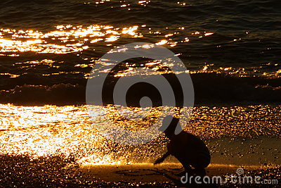 Child Silhouette - Sunset Wallpaper: Stock Picture