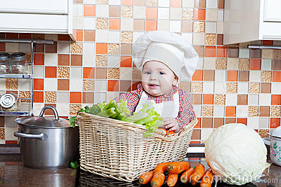 Child sits in a wattled basket