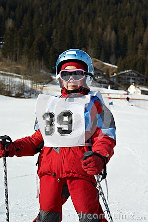 Child in the ski resort
