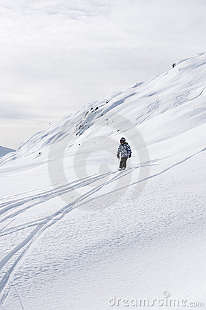 Child skiing, french Alps