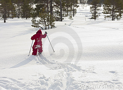 Child skiing off path