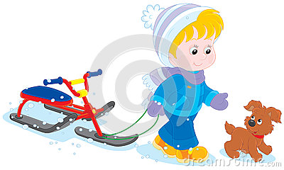 Child with a snow scooter and pup
