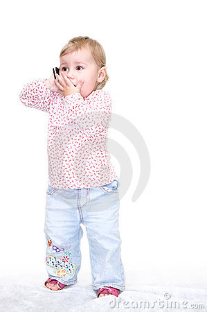 Child speaking by phone