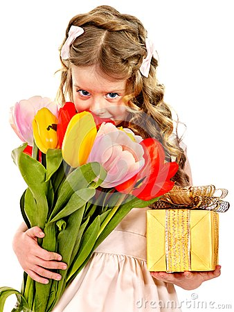Child with spring flower and gift box.