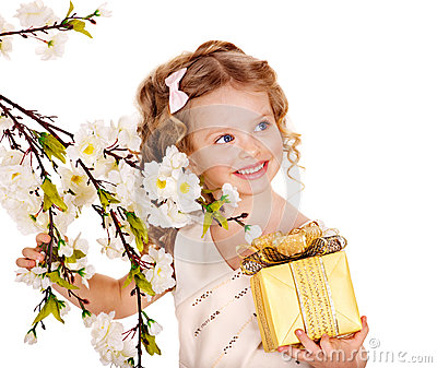 Child with spring flower.