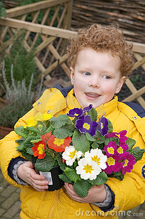 Child with Spring Flowers