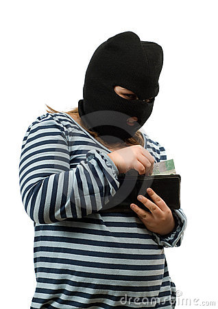 Child Stealing Money Concept