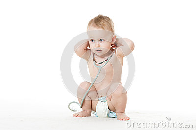 Child with stethoscope.