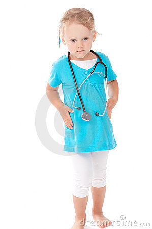 Child with stetoscope playing doctor