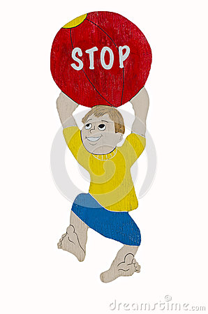 Children Stop Sign Boy Ball