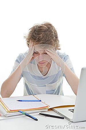 Child student studying homework